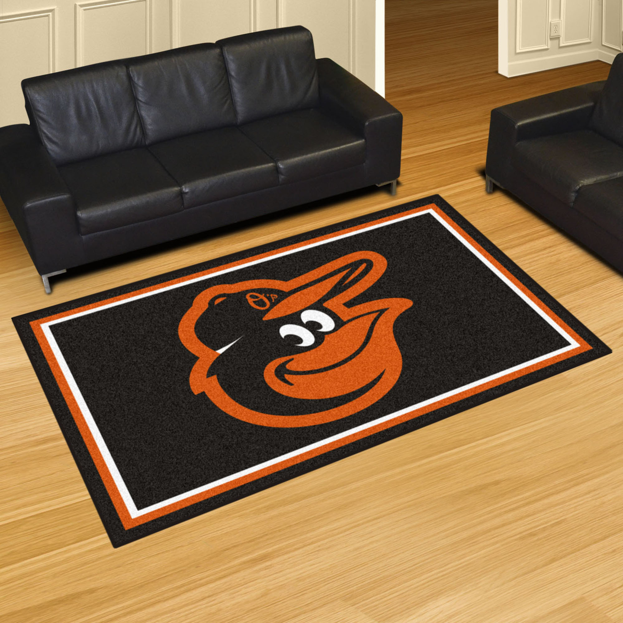 Baltimore Orioles Cartoon Bird 5x8 Area Rug
