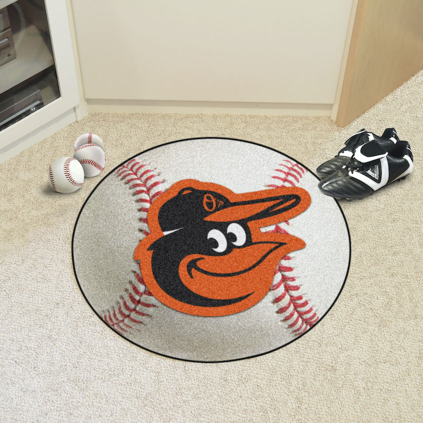 Baltimore Orioles Cartoon Bird Round Baseball Mat