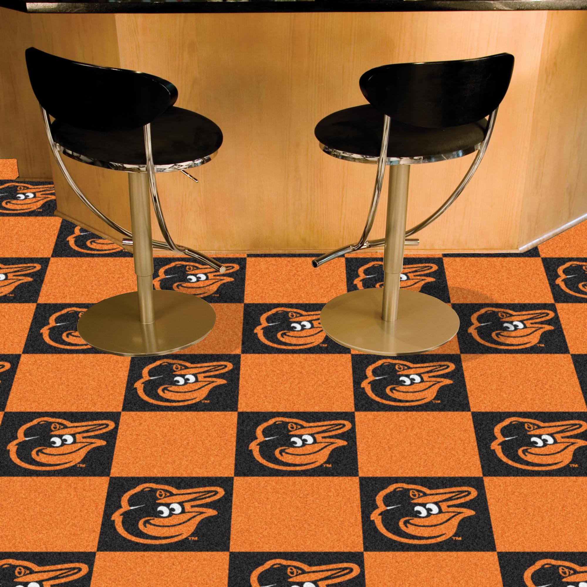 Baltimore Orioles Cartoon Bird Carpet Tiles 18x18 in.