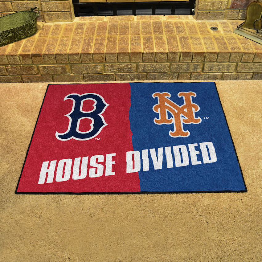MLB House Divided Rivalry Rug Boston Red Sox - New York Mets