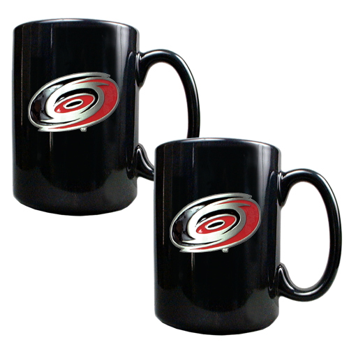 Carolina Hurricanes 2pc Black Ceramic NHL Coffee Mug Set