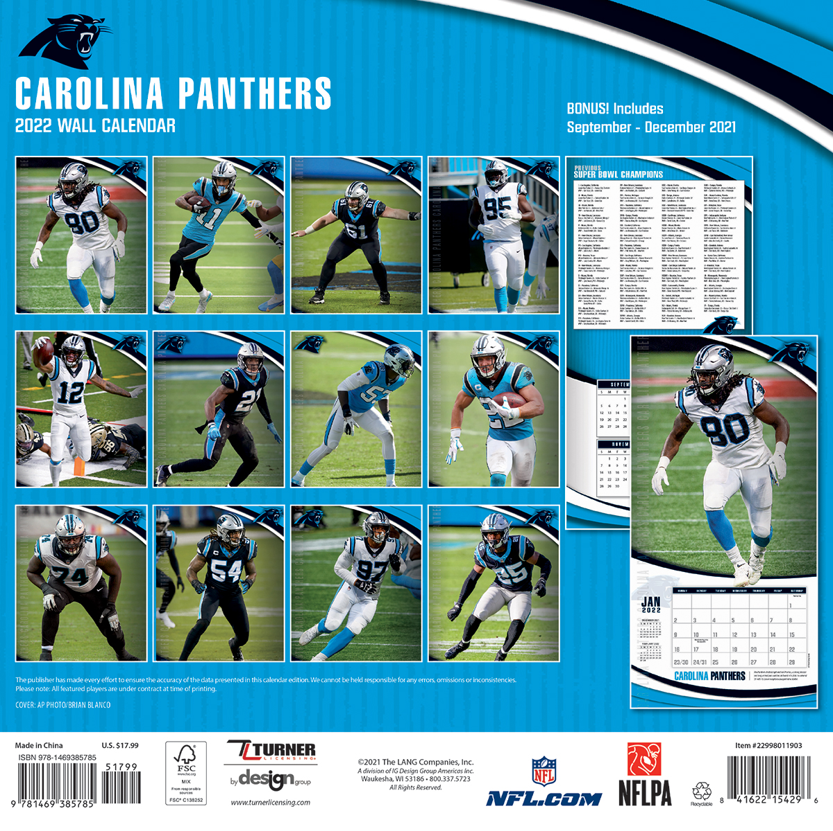 Carolina Panthers 2018 Nfl Wall Calendar Buy At Khc Sports