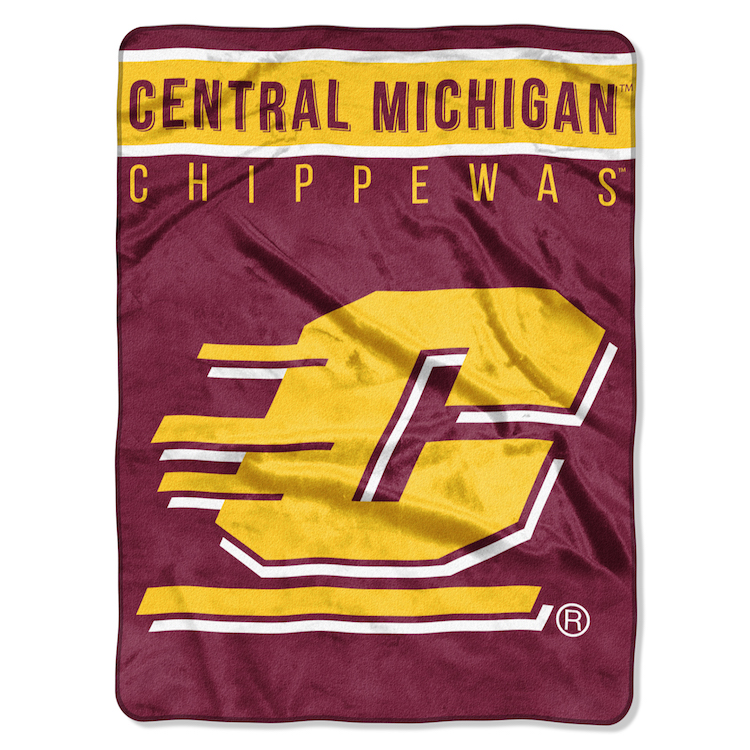 Central Michigan Chippewas Large Plush Fleece OVERTIME 60 x 80 Blanket