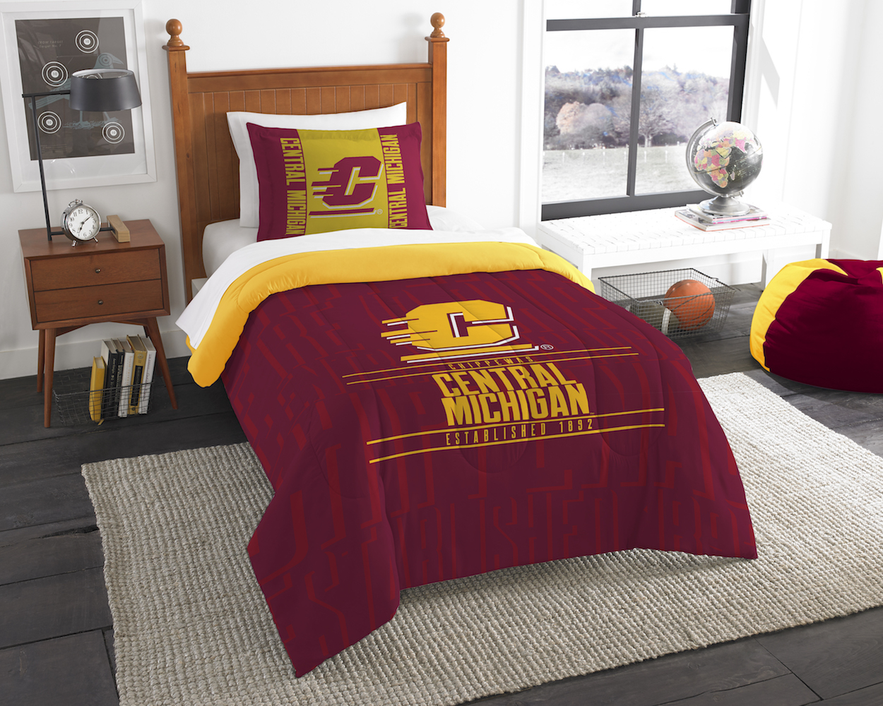 Central Michigan Chippewas Twin Comforter Set with Sham