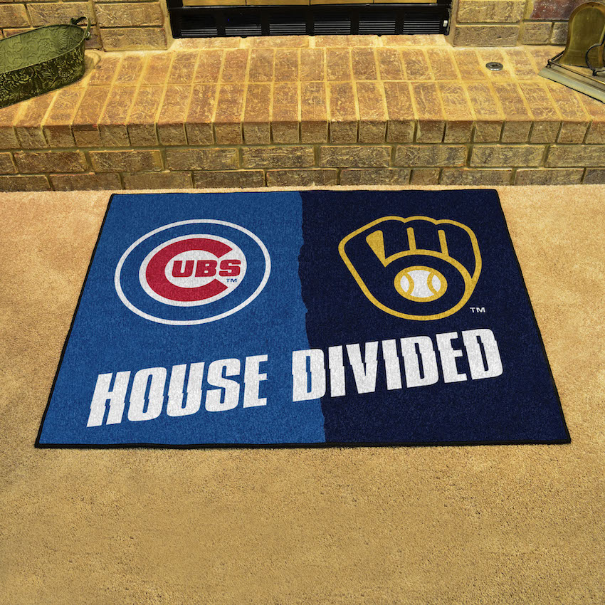 MLB House Divided Rivalry Rug Chicago Cubs - Milwaukee Brewers