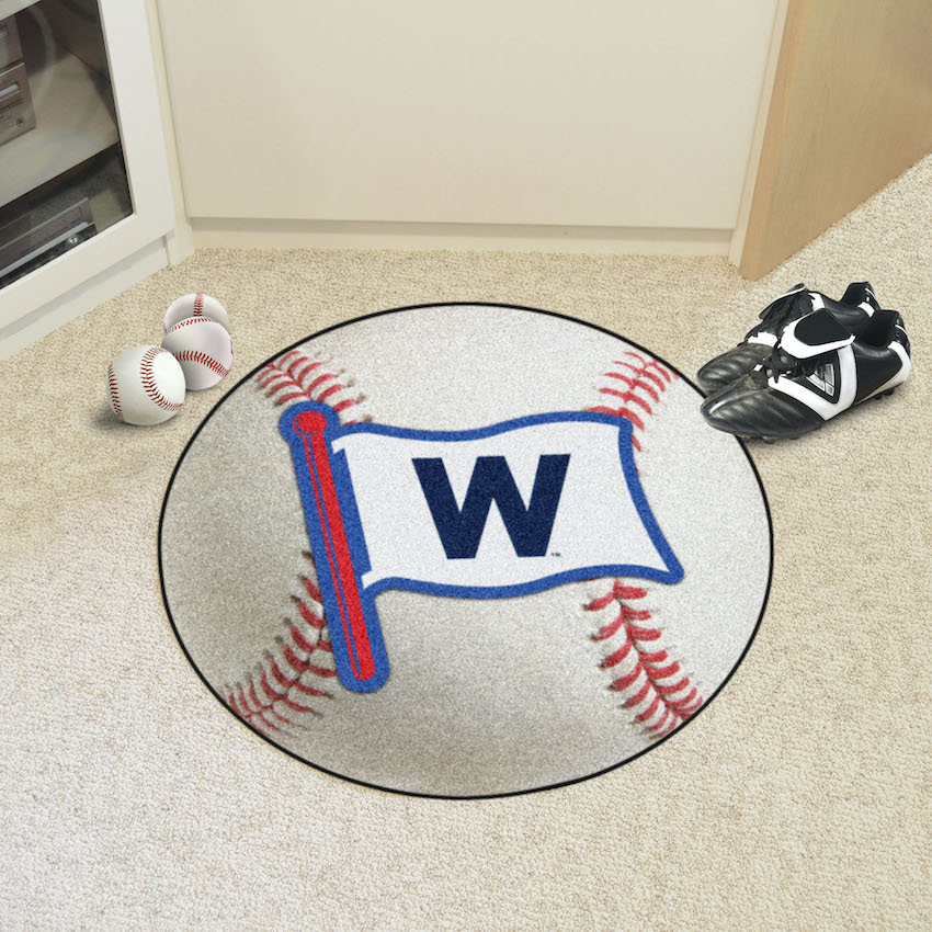 Chicago Cubs FLY THE W Round Baseball Mat