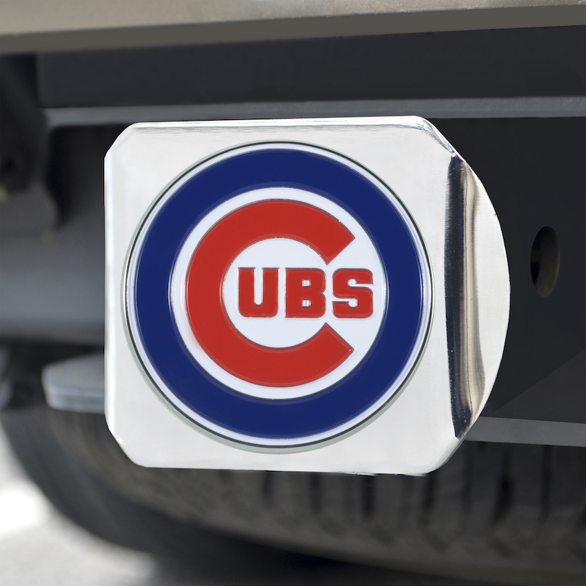 Chicago Cubs Color Chrome Trailer Hitch Cover