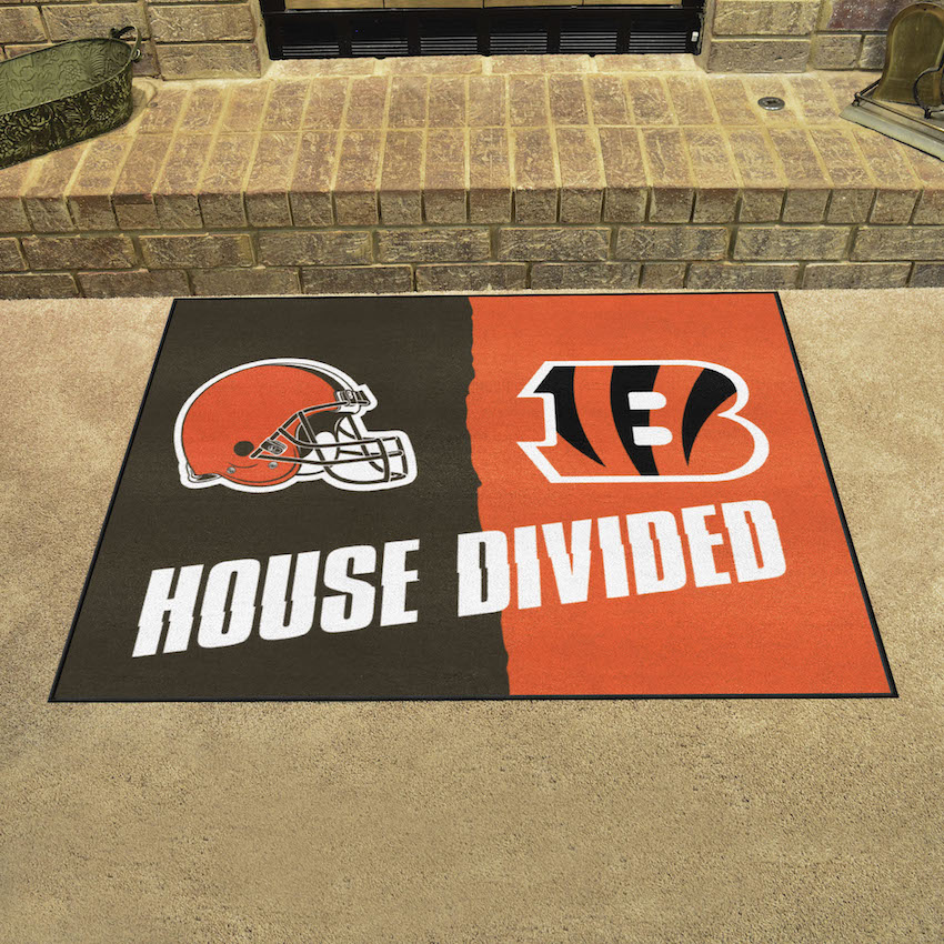 NFL House Divided Rivalry Rug Cincinnati Bengals - Cleveland Browns