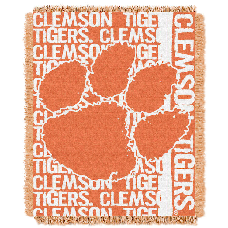 Clemson Tigers Double Play Tapestry Blanket 48 x 60