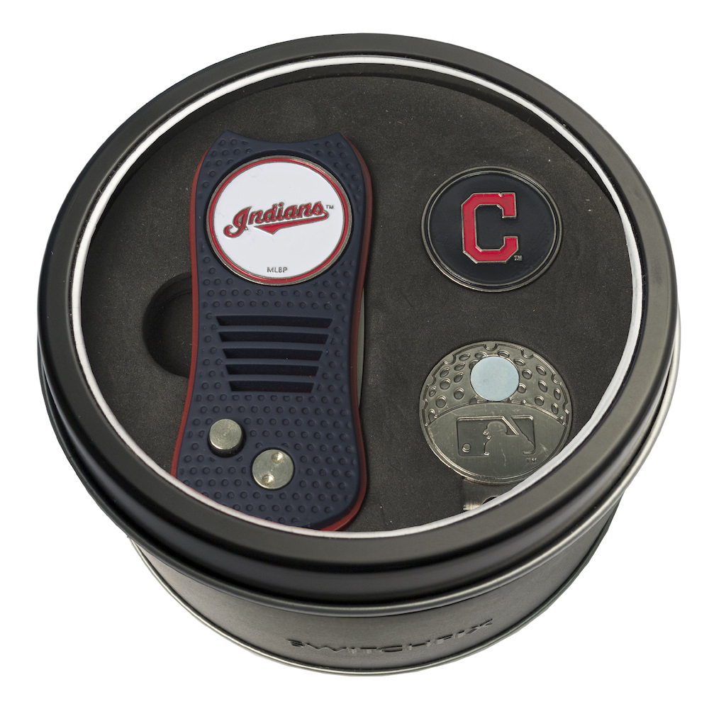 Cleveland Indians Switchblade Divot Tool Cap Clip and Ball Marker Gift Pack