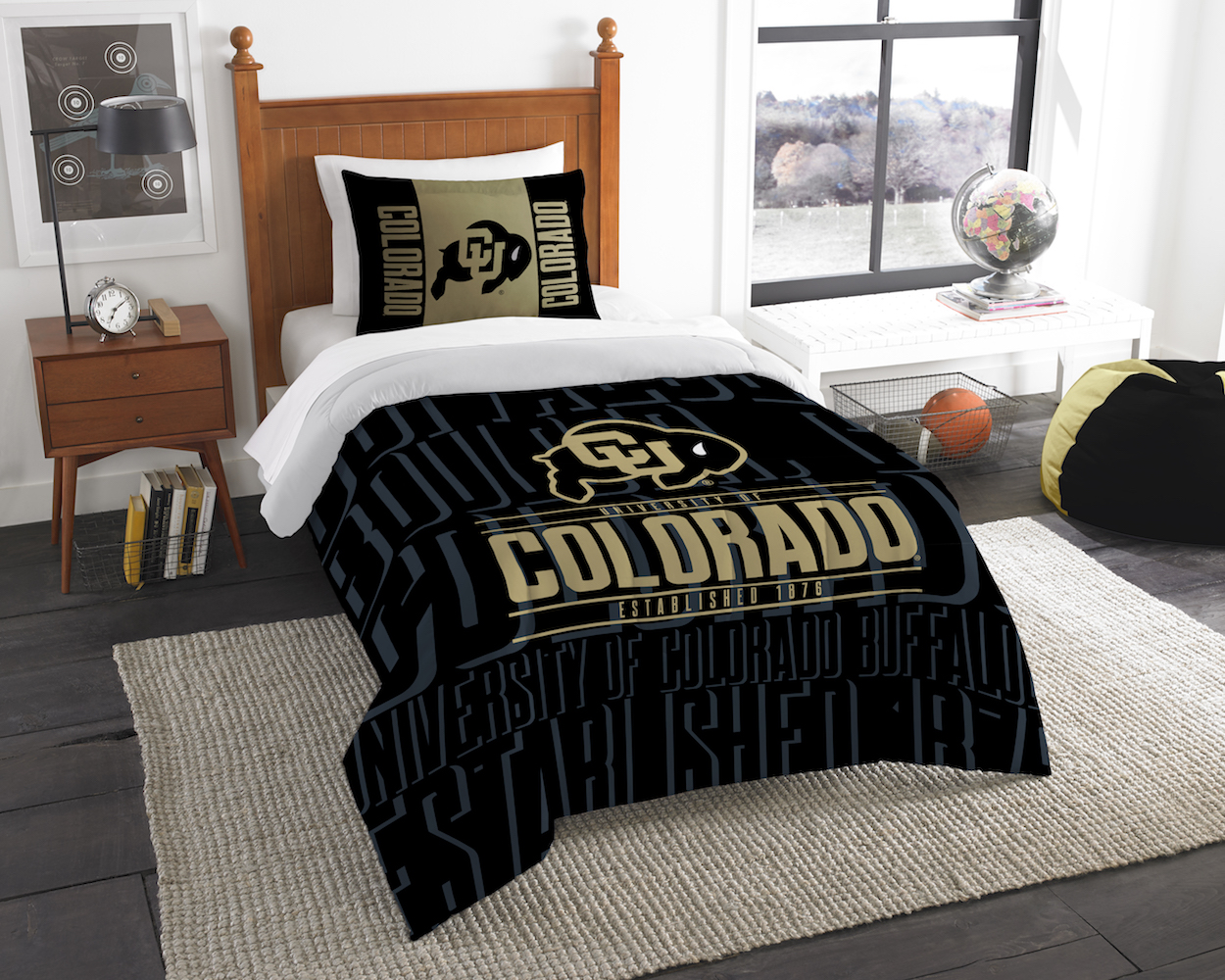 Colorado Buffaloes Twin Comforter Set with Sham