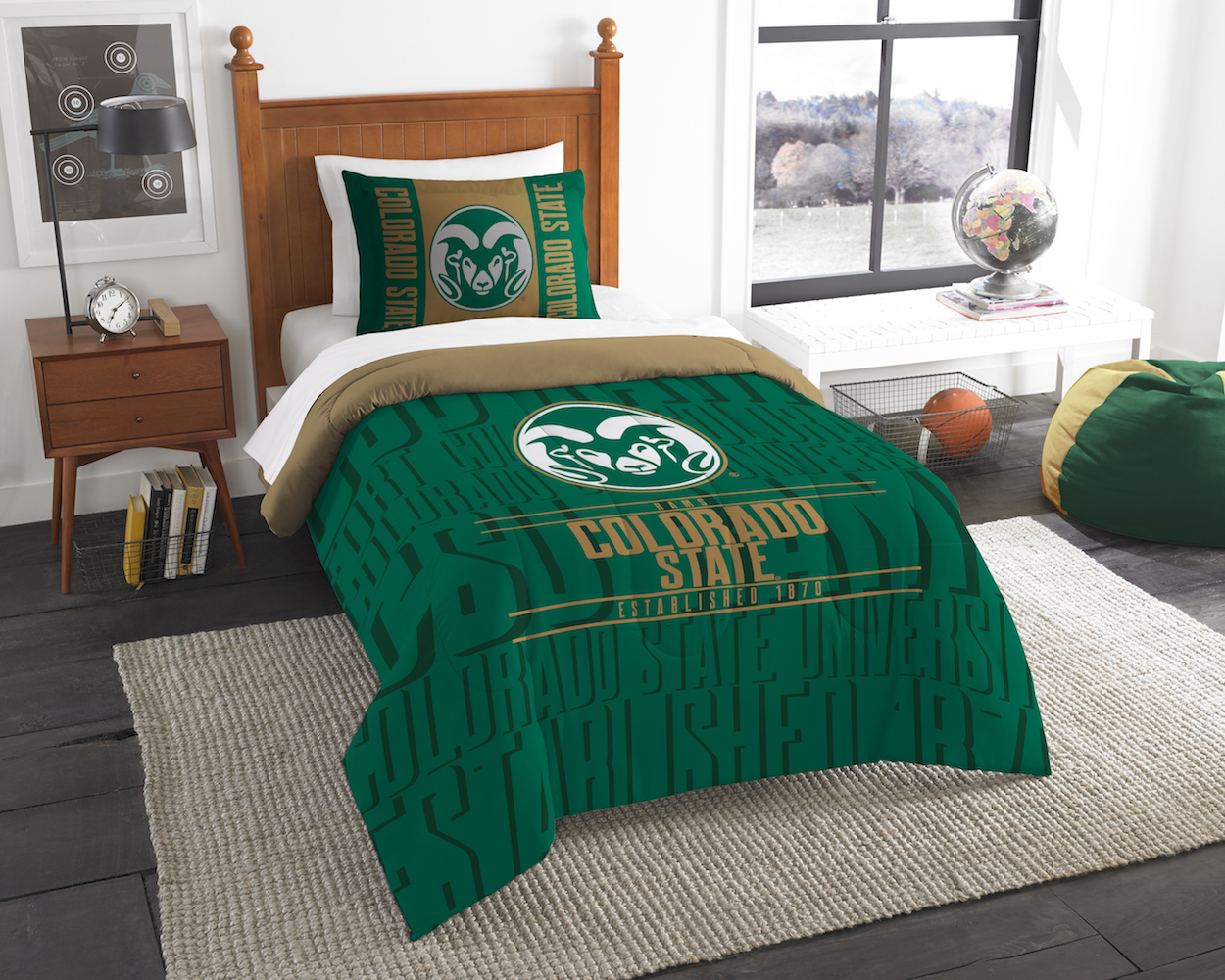 Colorado State Rams Twin Comforter Set with Sham