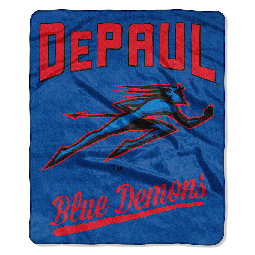 DePaul Blue Demons Plush Fleece Raschel Blanket 50 x 60
