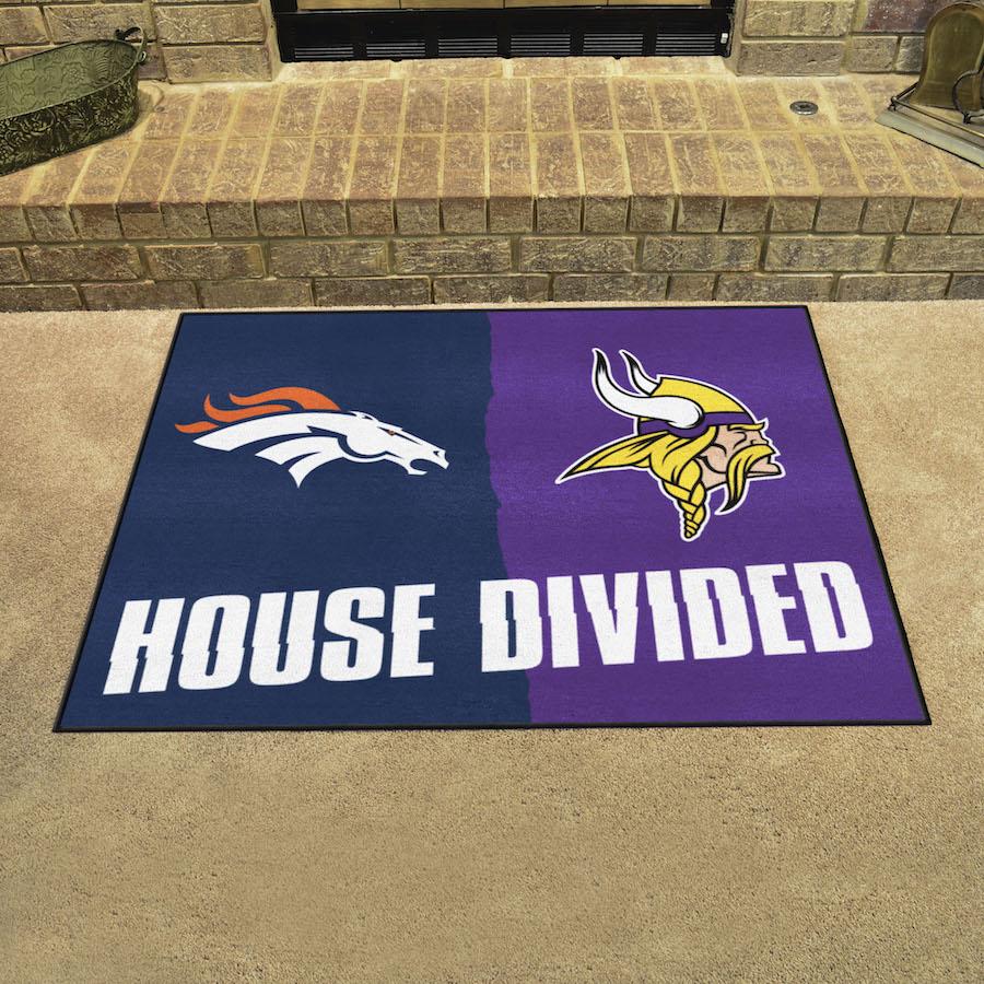 Nfl House Divided Rivalry Rug Denver Broncos Minnesota