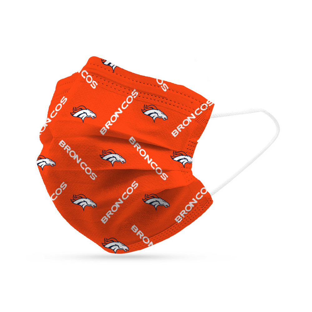 Denver Broncos Disposable Face Covering Masks (pk of 6)