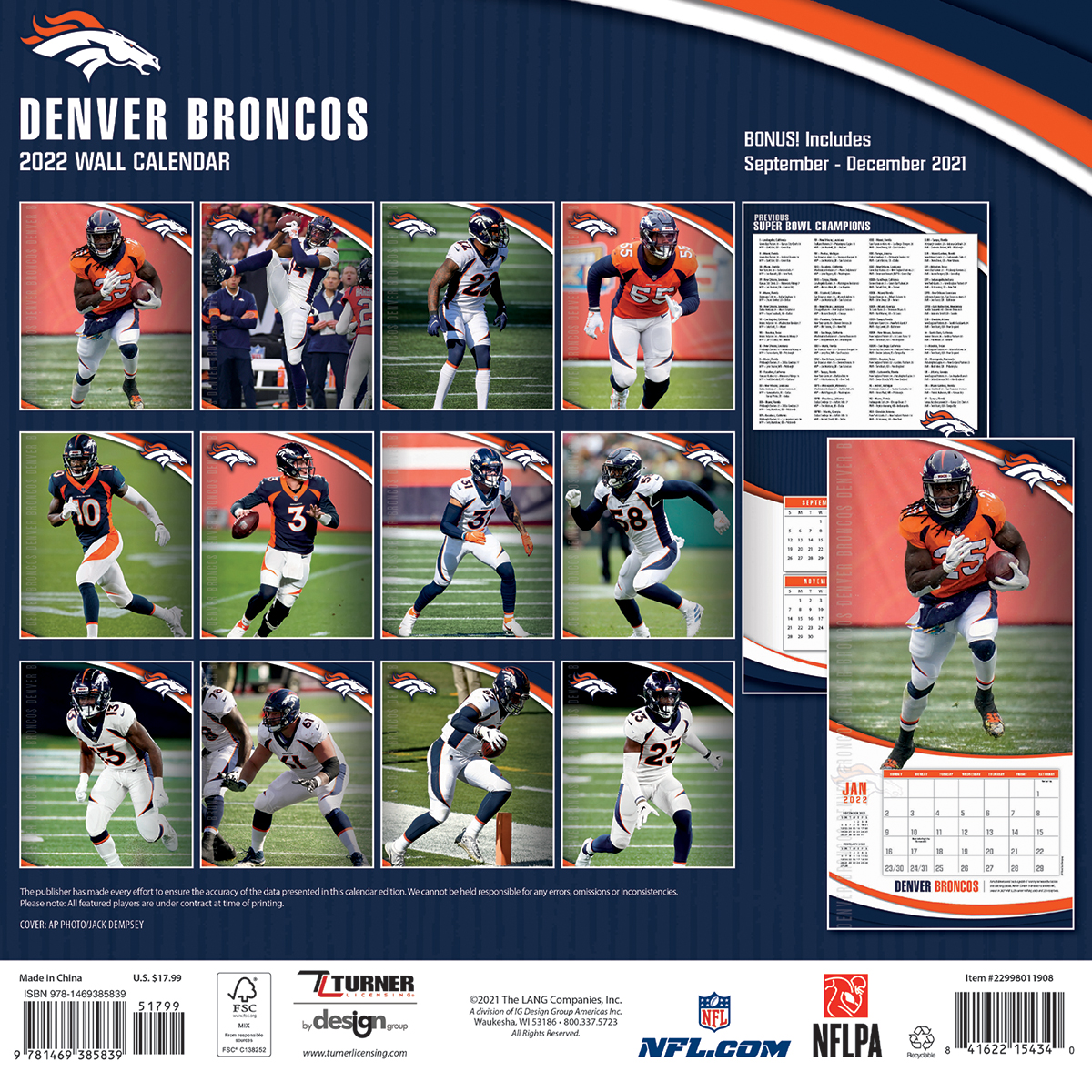 Denver Broncos 2018 Nfl Wall Calendar Buy At Khc Sports