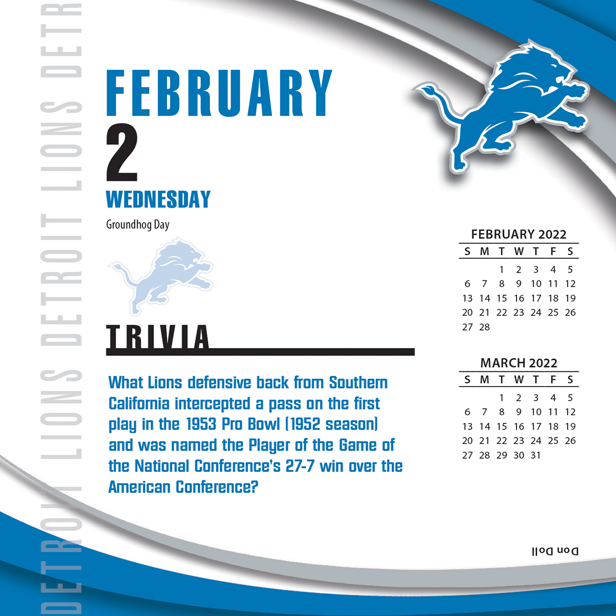 Detroit Lions 2018 Nfl Page A Day Box Calendar Buy At
