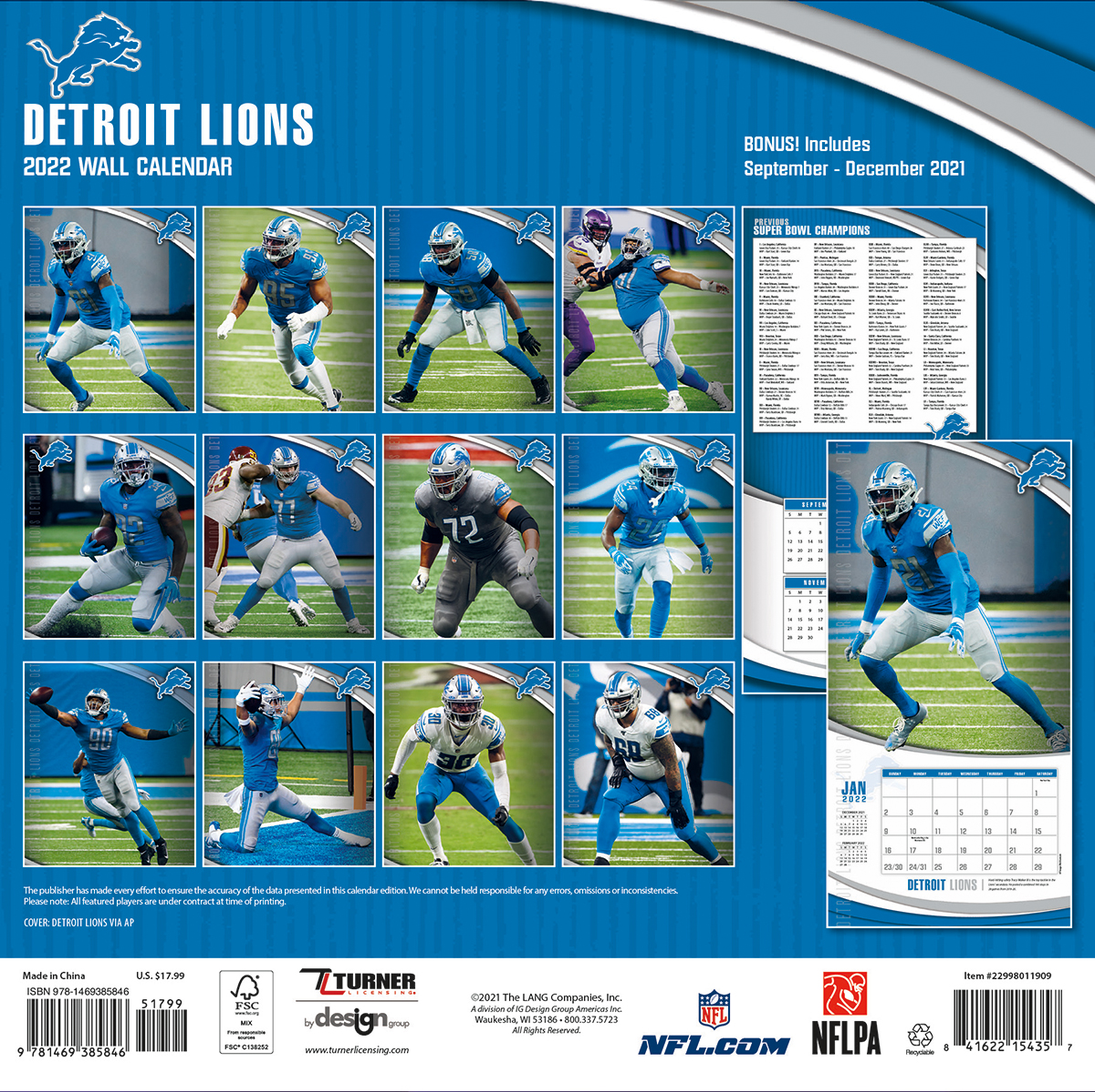 Detroit Lions 2018 Nfl Wall Calendar Buy At Khc Sports