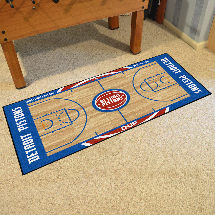 Detroit Pistons 30 x 54 LARGE Basketball Court Carpet Runner