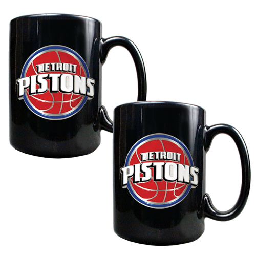 Detroit Pistons 2pc Black Ceramic NBA Coffee Mug Set