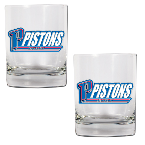 Detroit Pistons NBA Logo 2pc Rocks Glass Set