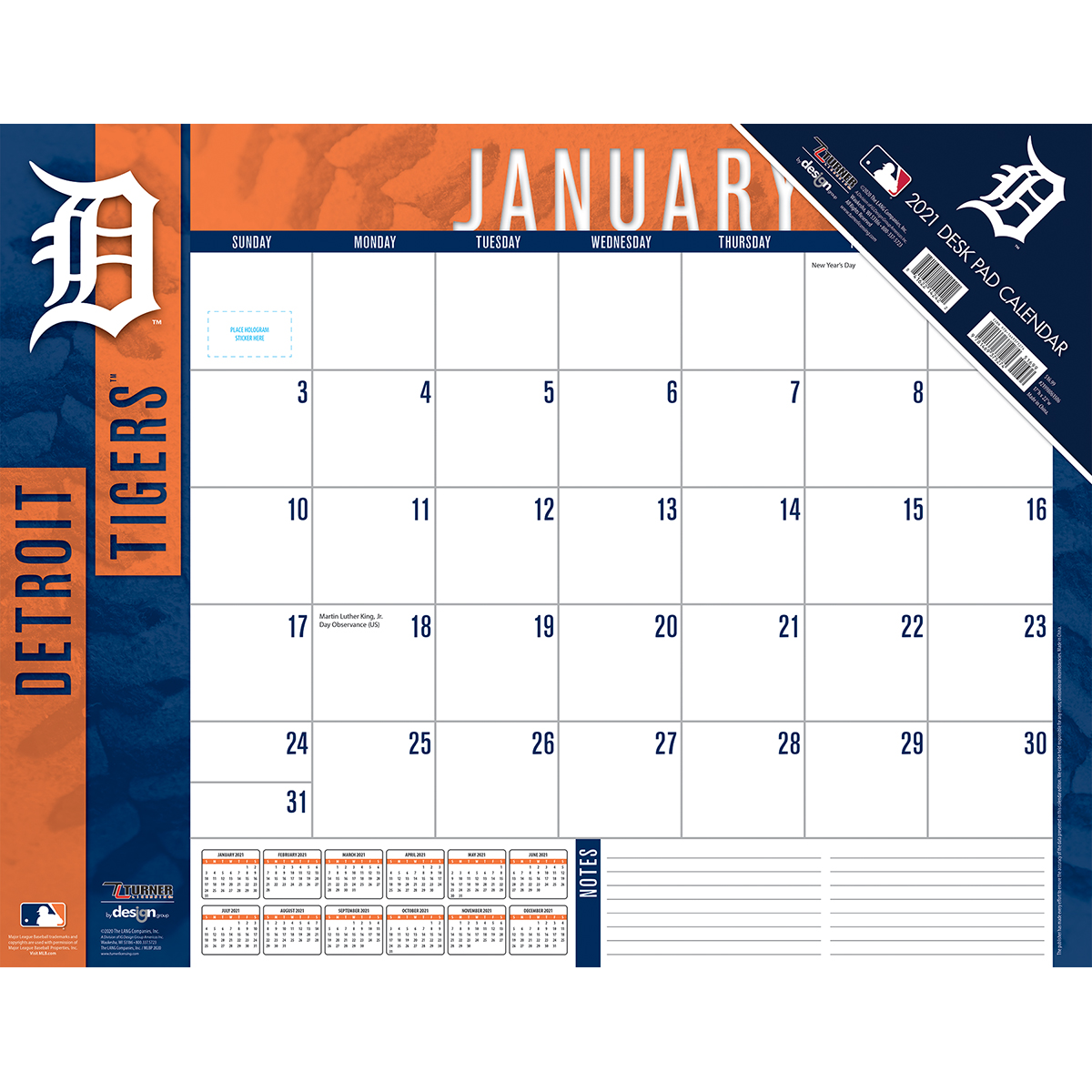 Detroit Tigers 2020 MLB 22 x 17 Desk Calendar