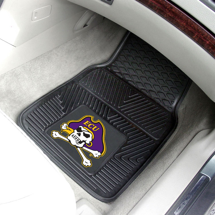 East Carolina Pirates Car Floor Mats 18 x 27 Heavy Duty Vinyl Pair