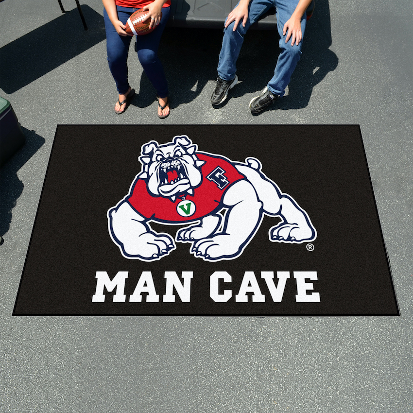Fresno State Bulldogs BLACK MAN CAVE TAILGATER 60 x 72 Rug