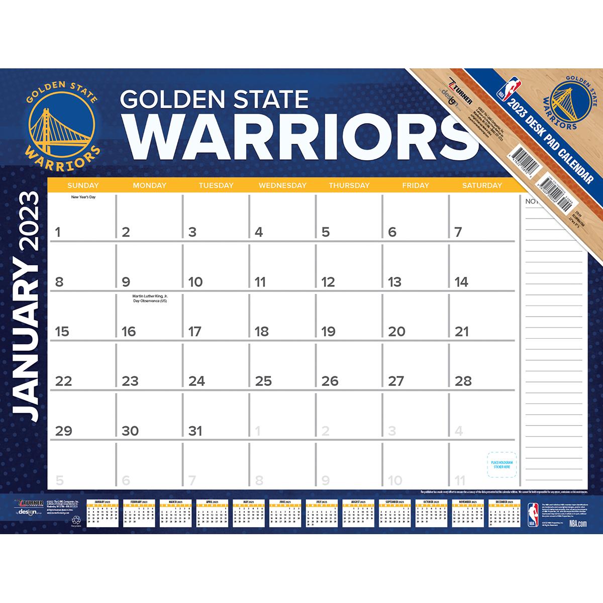 golden state warriors 2019 nba 22 x 17 desk calendar