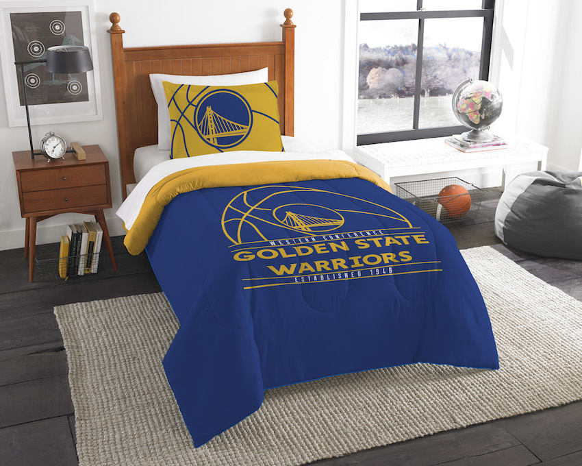 Golden State Warriors Twin Comforter Set with Sham