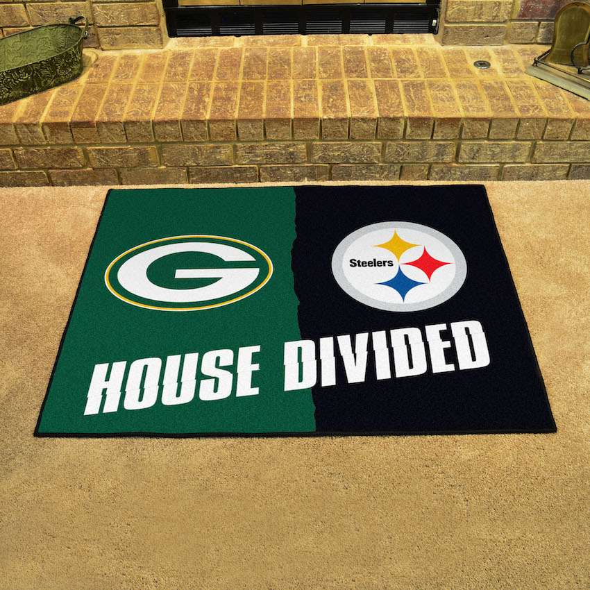 NFL House Divided Rivalry Rug Green Bay Packers - Pittsburgh Steelers