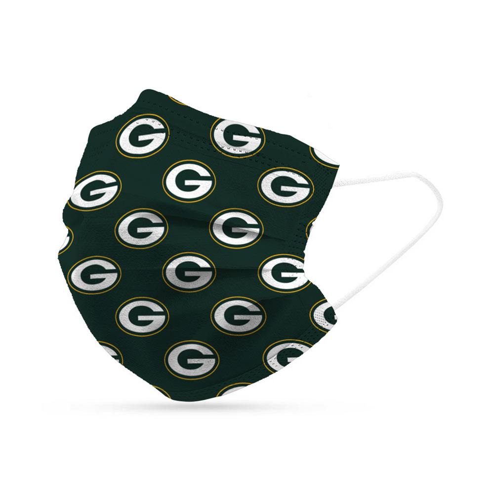 Green Bay Packers Disposable Face Covering Masks (pk of 6)