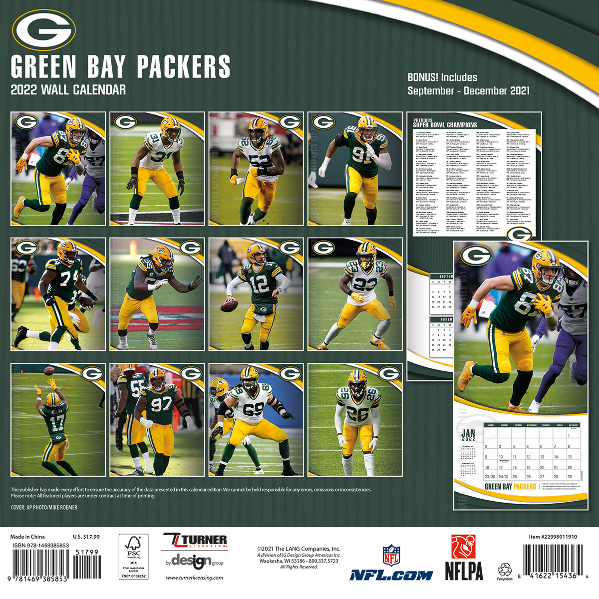 Green Bay Packers 2018 Nfl Wall Calendar Buy At Khc Sports