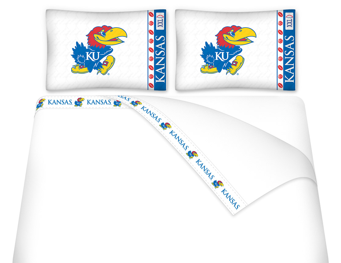 Kansas Jayhawks Micro Fiber Sheet Set QUEEN Size