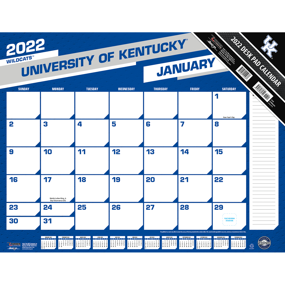 Kentucky Wildcats 2020 NCAA 22 X 17 Desk Calendar