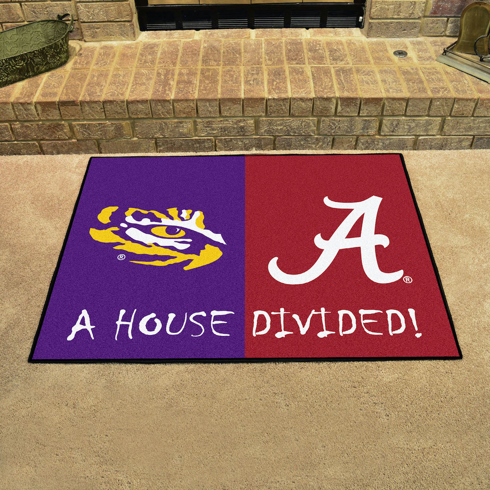 NCAA House Divided Rivalry Rug LSU Tigers - Alabama Crimson Tide
