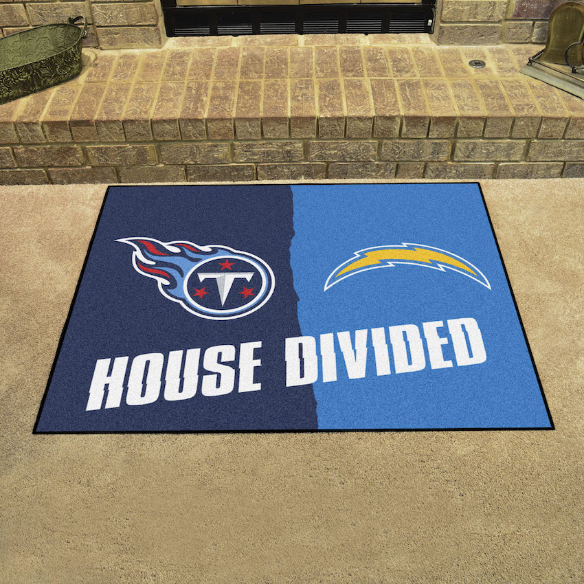 NFL House Divided Rivalry Rug Los Angeles Chargers - Tennessee Titans