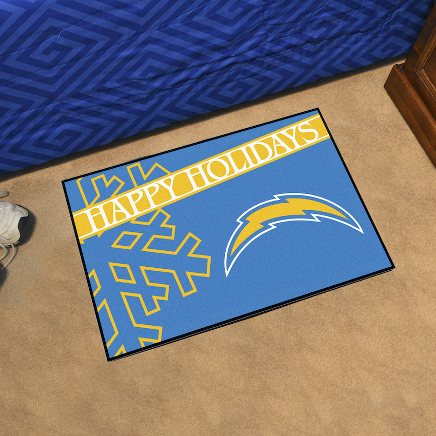 Los Angeles Chargers Holiday Floor Mat