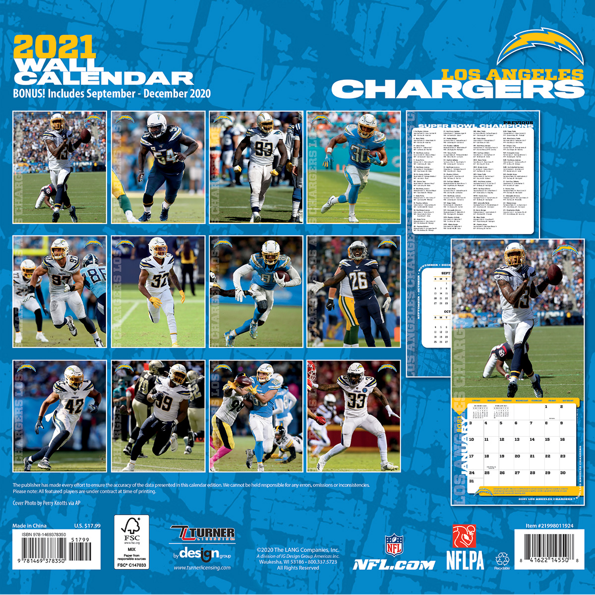 Los Angeles Chargers 2018 Nfl Mini Wall Calendar Buy At