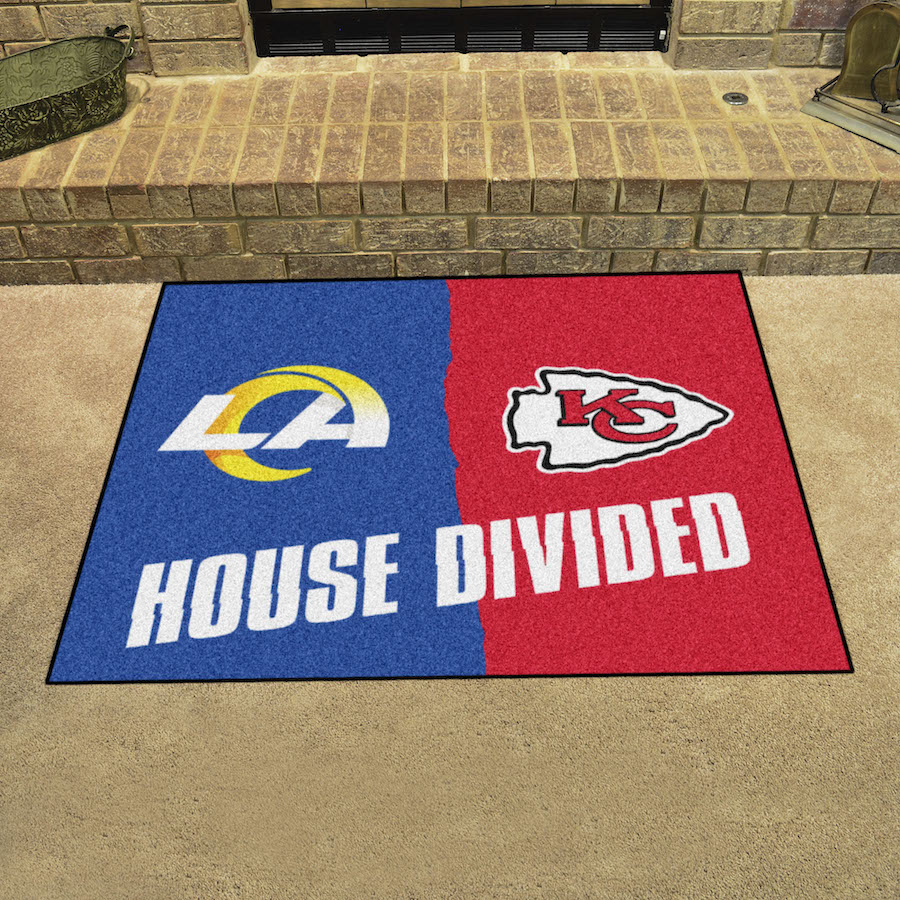 NFL House Divided Rivalry Rug Los Angeles Rams - Kansas City Chiefs