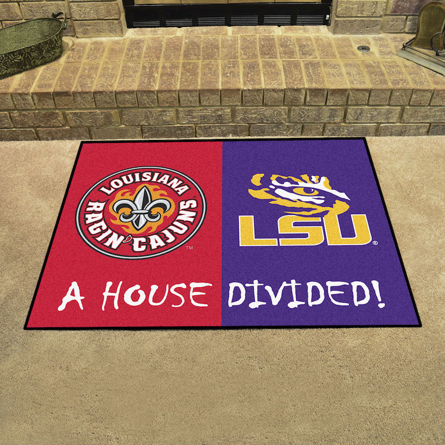 NCAA House Divided Rivalry Rug Louisiana Lafayette Ragin Cajuns - LSU Tigers