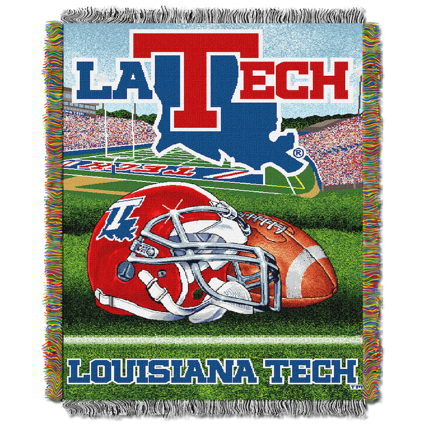 Louisiana Tech Bulldogs Home Field Advantage Series Tapestry Blanket 48 x 60