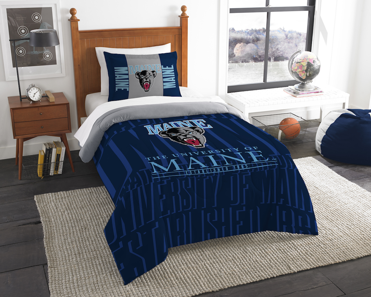 Maine Black Bears Twin Comforter Set with Sham