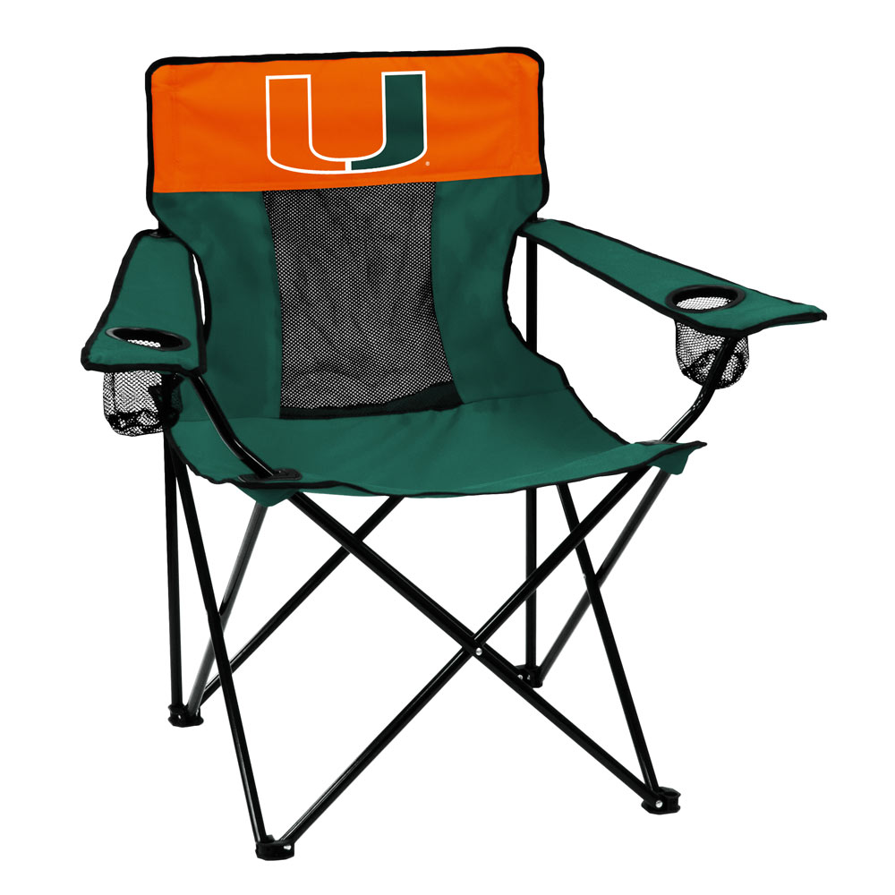 Miami Hurricanes ELITE logo folding camp style chair