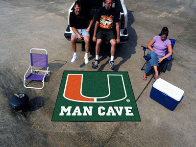 Miami Hurricanes MAN CAVE TAILGATER 60 x 72 Rug