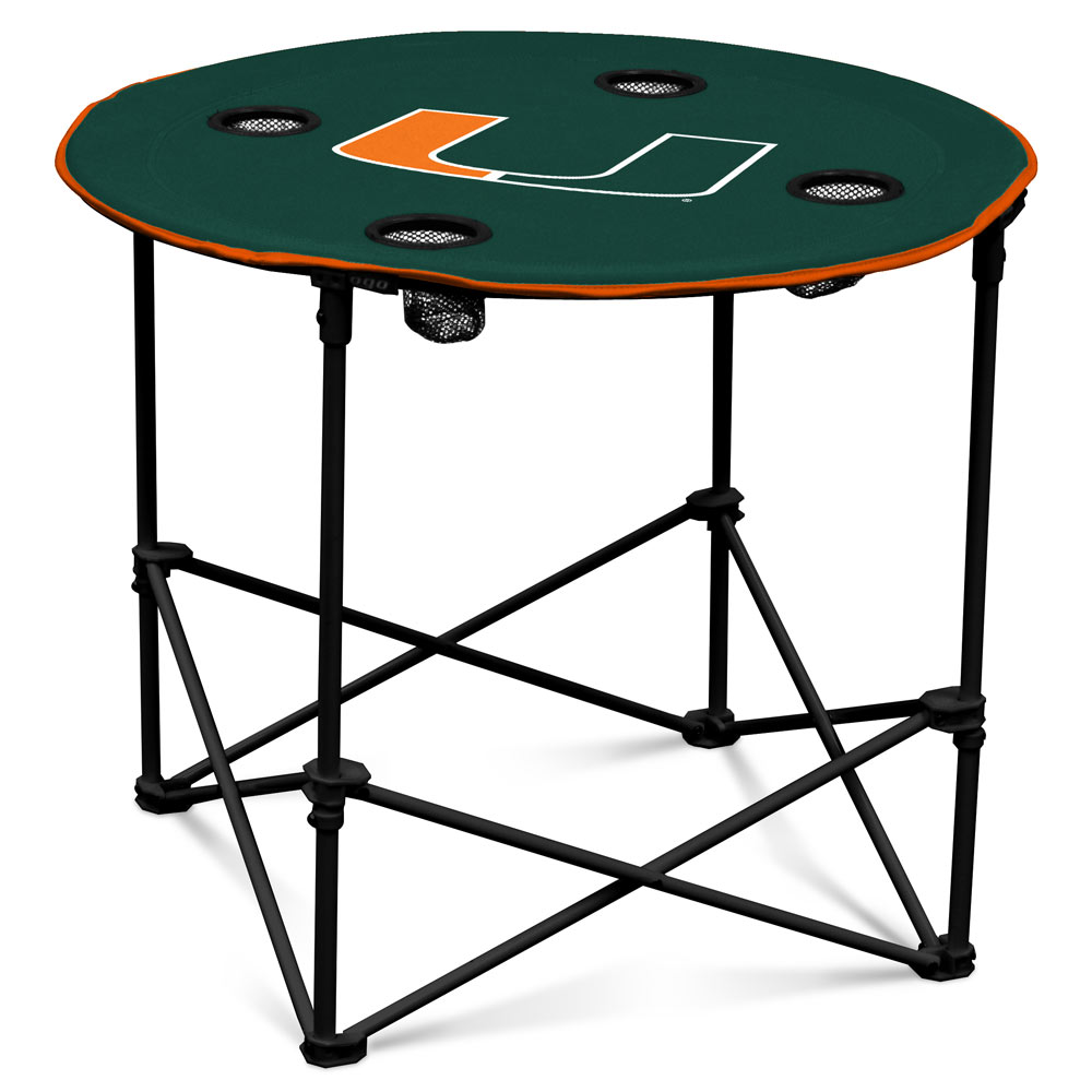 Miami Hurricanes Round Tailgate Table