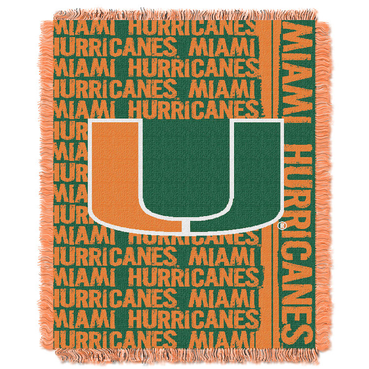 Miami Hurricanes Double Play Tapestry Blanket 48 x 60