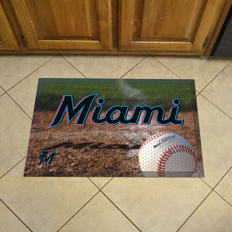 Miami Marlins Ball Style SCRAPER Door Mat