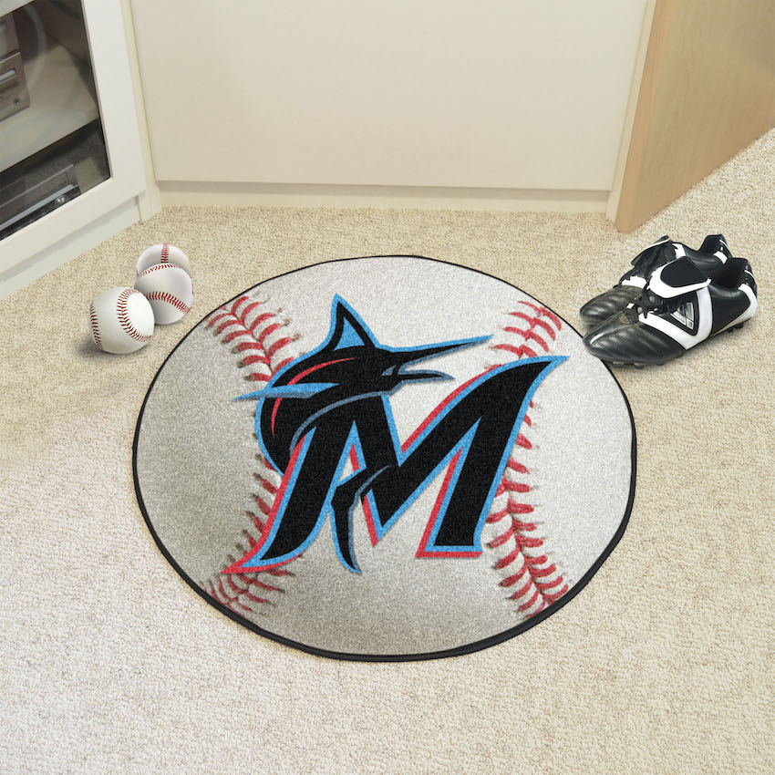 Miami Marlins Round Baseball Mat
