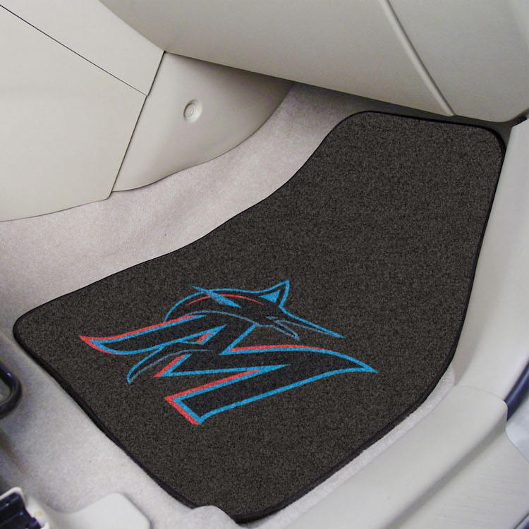 Miami Marlins Car Floor Mats 18 x 27 Carpeted-Pair